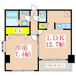 ブルーアイズ中央[3階]の間取り