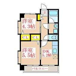 さくらヒルズ新屋敷壱番館[2階]の間取り