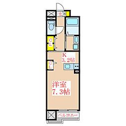 ウェーブII 9階ワンルームの間取り