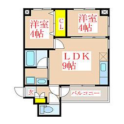 鷹師2丁目マンション[2階]の間取り