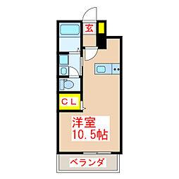 鹿児島市電1系統 鴨池駅 徒歩2分の賃貸マンション 6階ワンルームの間取り