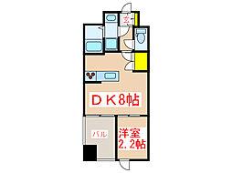 鹿児島市電2系統 市立病院前駅 徒歩17分の賃貸マンション 4階1DKの間取り