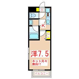 鹿児島市電1系統 騎射場駅 徒歩7分の賃貸マンション 1階1Kの間取り