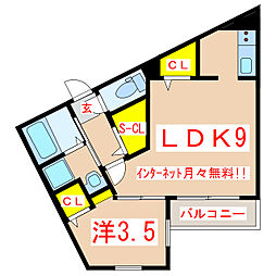 Golden Capital 3階1LDKの間取り