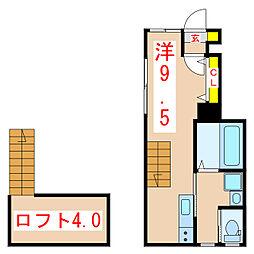 cervo 1階ワンルームの間取り