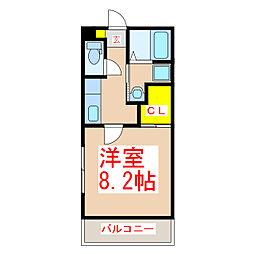 鹿児島市電1系統 鴨池駅 徒歩4分の賃貸マンション 2階1Kの間取り