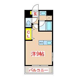 鹿児島市電1系統 騎射場駅 徒歩4分の賃貸マンション 2階ワンルームの間取り