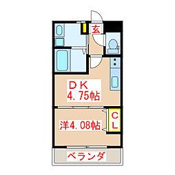 鹿児島市電2系統 中洲通駅 徒歩8分の賃貸マンション 2階1DKの間取り