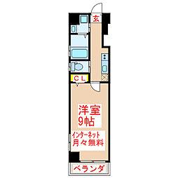 鹿児島市電1系統 新屋敷駅 徒歩8分の賃貸マンション 5階1Kの間取り