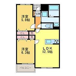 静岡県浜松市東区安間町の賃貸アパートの間取り