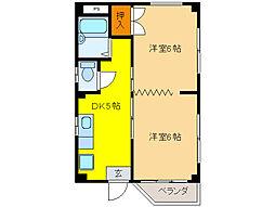 コーポ横山[4階]の間取り
