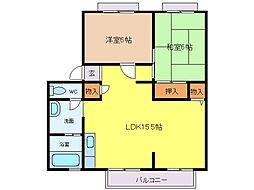 サンシャインハイツA[1階]の間取り