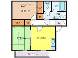 ハイツミヅホB棟[2階]の間取り