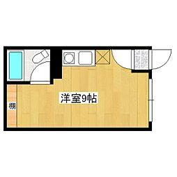 JR石北本線 北見駅 徒歩15分の賃貸アパート 3階ワンルームの間取り
