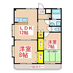 鹿児島県霧島市国分福島3丁目の賃貸マンションの間取り