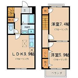 [テラスハウス] 滋賀県草津市追分8丁目 の賃貸【/】の間取り