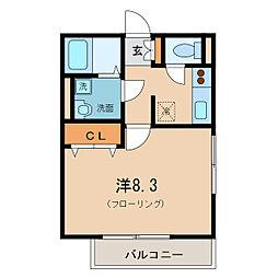 ぺルシクム瀬田[2階]の間取り