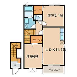 カーサKeiIII[2階]の間取り