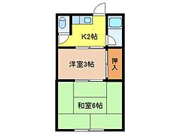 福田グリーンコーポ[2階]の間取り