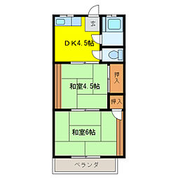第1鹿島荘[2階]の間取り