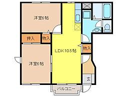 カーサタカバI[1階]の間取り