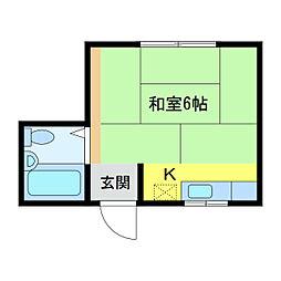ワンーK江南[1階]の間取り