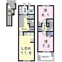 プライムガーデン 2階2LDKの間取り