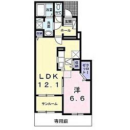 JR内房線 袖ヶ浦駅 徒歩17分の賃貸アパート 1階1LDKの間取り