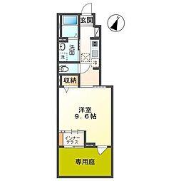 仮称袖ヶ浦市奈良輪新築アパート 1階1Kの間取り