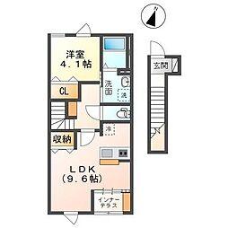 仮称袖ヶ浦市奈良輪新築アパート 2階1LDKの間取り