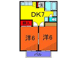 東京都葛飾区東金町6丁目の賃貸アパートの間取り