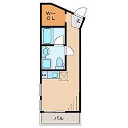 ヴェスパーマティーニ亀有 2階ワンルームの間取り