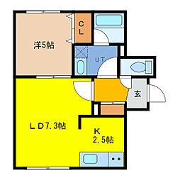 FELIAS富士 2階1LDKの間取り