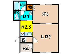 北海道函館市桔梗3丁目の賃貸アパートの間取り