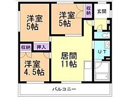 北海道亀田郡七飯町大川2丁目の賃貸マンションの間取り