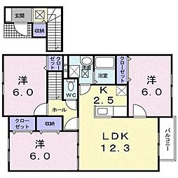 北海道亀田郡七飯町大川6丁目の賃貸アパートの間取り