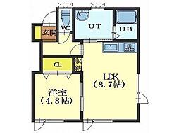 北海道函館市亀田本町の賃貸アパートの間取り