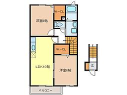 メゾン・フレーシュA・B[2階]の間取り