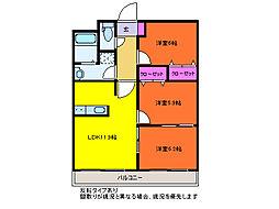 サンハイムさかい[3階]の間取り