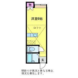 アパートメント・ラフィーネ 2階ワンルームの間取り