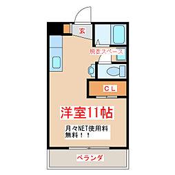 JR指宿枕崎線 坂之上駅 徒歩18分の賃貸マンション 2階ワンルームの間取り