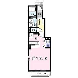鹿児島市電1系統 谷山駅 バス13分 入来下車 徒歩3分の賃貸アパート 1階ワンルームの間取り