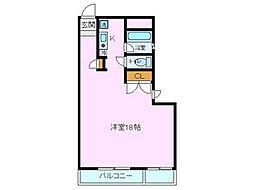 ロイヤルハイム木の宮[3-B号室]の間取り