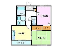 ヴィラメゾンMAKI[1階]の間取り