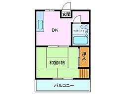京屋ハイツ[102号室]の間取り