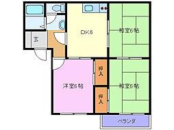 タウニー山田D[2階]の間取り