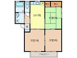 ウィンドフィル 2階3DKの間取り