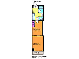 レジデンスカープ新潟[8階]の間取り