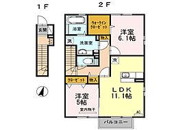 クローバーハウスD棟[2階]の間取り