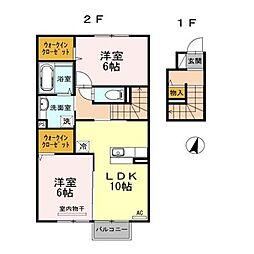 クローバーハウスE棟[2階]の間取り